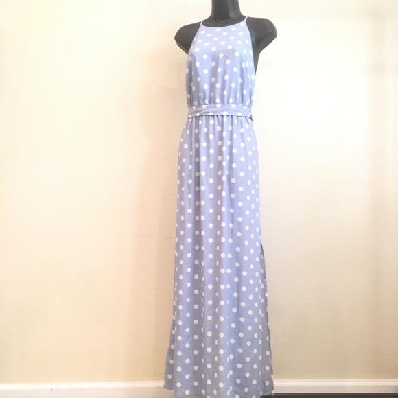Ann Taylor Dresses Blue And White Polka Dot Maxi Dress 4 Poshmark